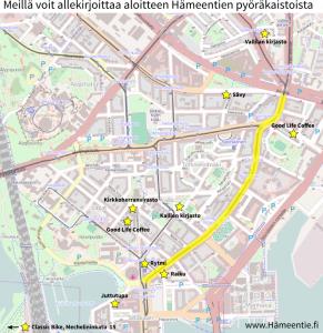 Hämeentie-aloitteen allekirjoituspaikat kartalla
